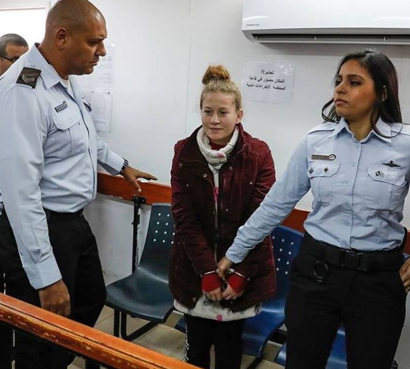 """The 17-year-old girl, 'Ahed al-Tamimi, during her trial in Israeli """"Ofer"""" Military Court"""