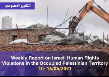 Weekly Report on Israeli Human Rights Violations in the Occupied Palestinian Territory 10 – 16  June 2021